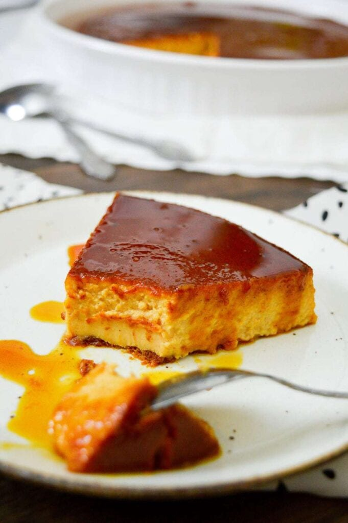 pumpkin flan on a white plate