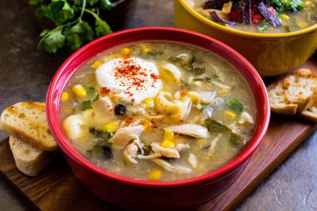 Mild Chicken Enchilada Tortellini Soup
