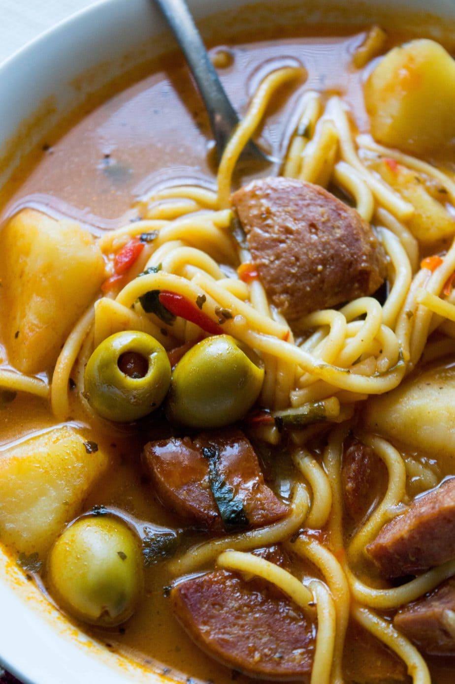 Homemade Puerto Rican Salami Soup | Sopa de Salchichon estilo Boricua