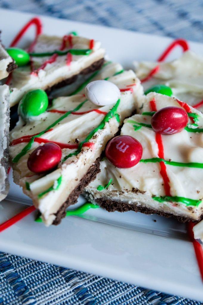 white chocolate M&M cookie bark