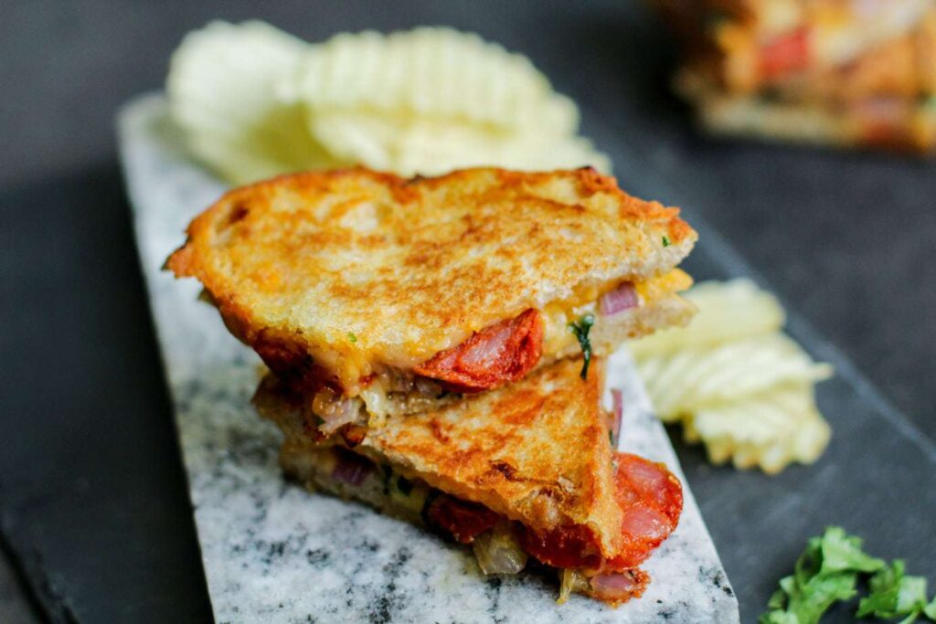 Chorizo Onion Grilled Cheese Sandwich