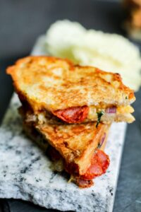 Chorizo and Onion Loaded Grilled Cheese Sandwich