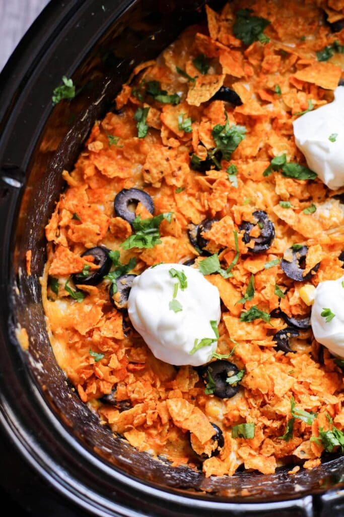 Slow Cooker Chicken Enchilada Doritos Casserole