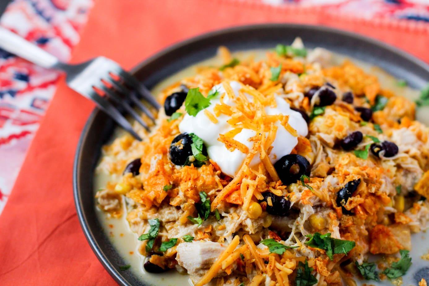 Slow Cooker Chicken Enchilada Doritos Casserole