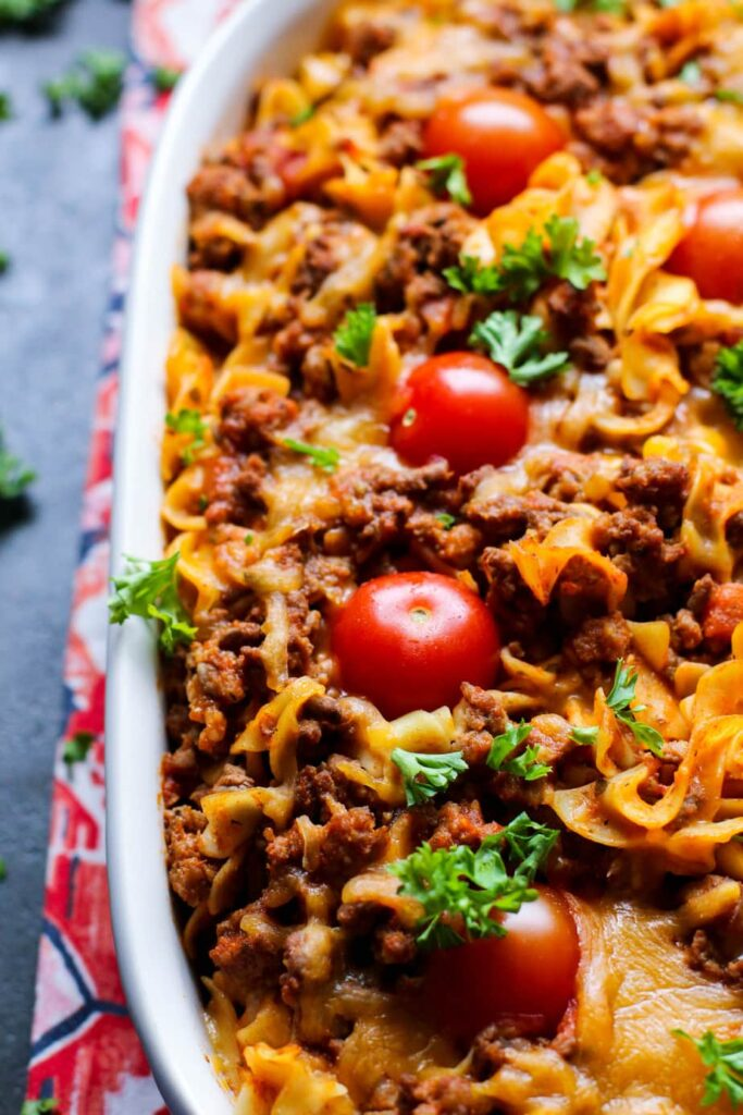 Rustic Puerto Rican Beef and Sausage Pasta Bake