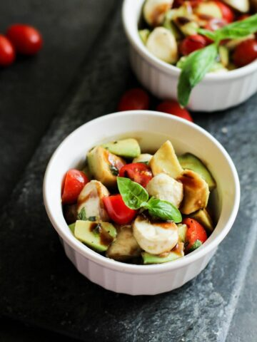 Avocado Caprese Salad Recipe in a white bowl