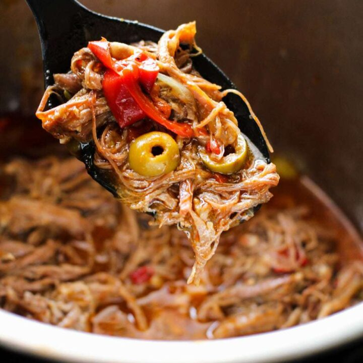 ropa vieja in a black spoon