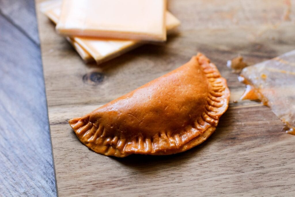folded empanada with edges crinkled