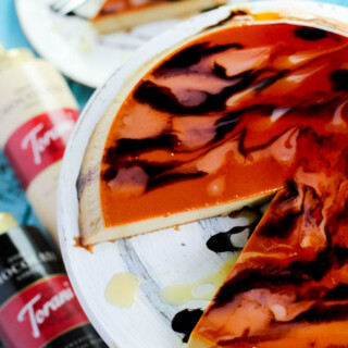 Coffee Flan Recipe | Flan de Cafe on a cake stand