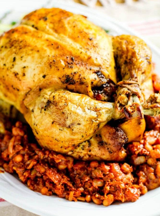 asted stuffed chicken with chorizo and beans