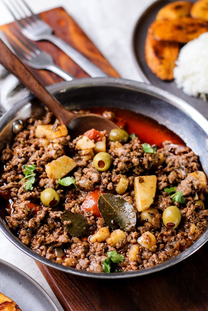 picadillo in a stainless steel pan