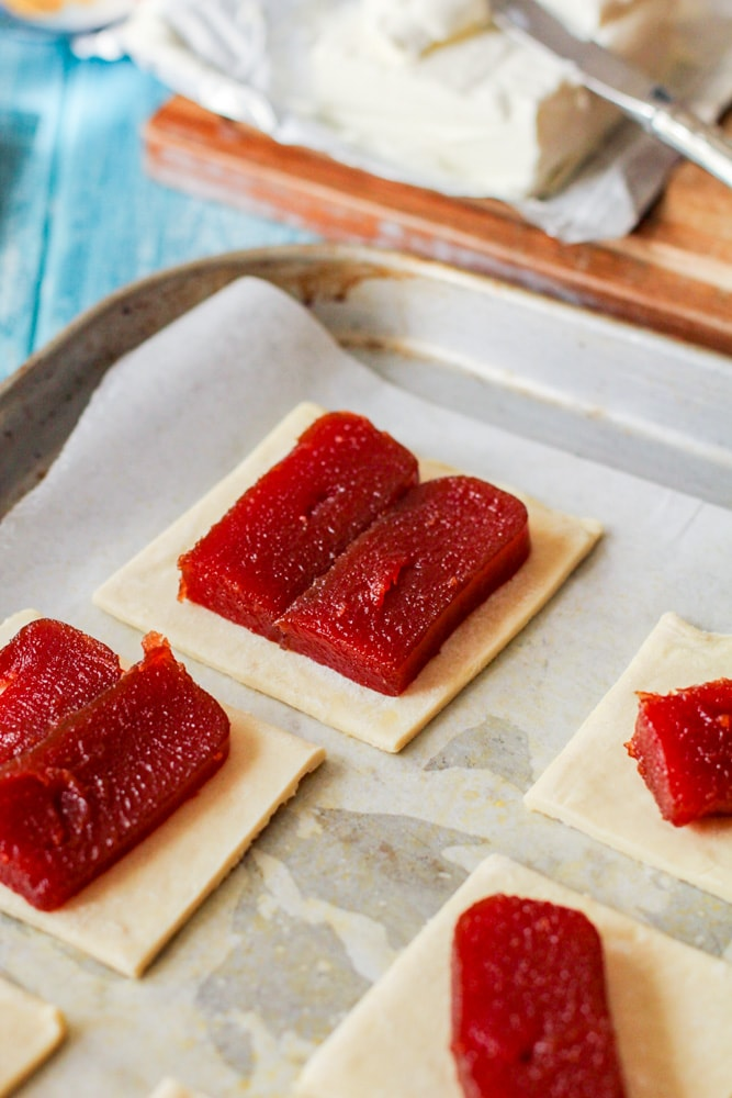 guava chunks on a square pastry