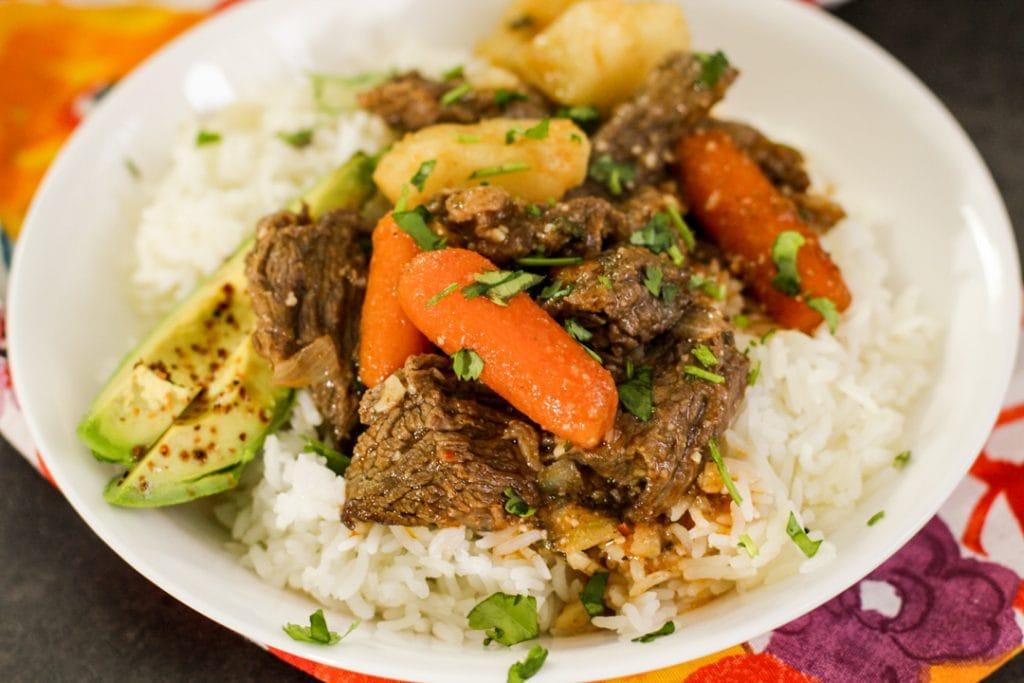 carne guisada and rice