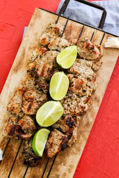 Pinchos with lime wedges