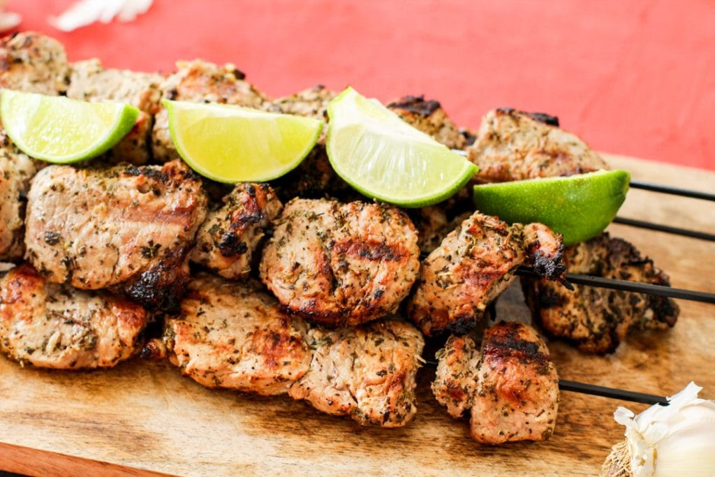 pinchos on skewers with lime