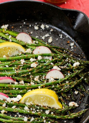 asparagus with cheese and radishes