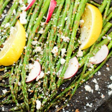 roasted asparagus in a cast iron pan