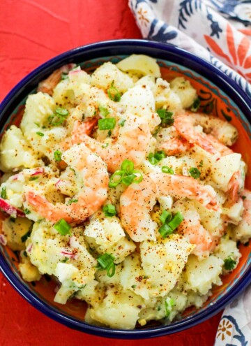 Shrimp potato salad in blue bowl