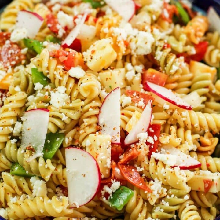 pasta salad with radish slices