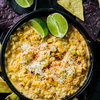 corn dip in a cast iron pan