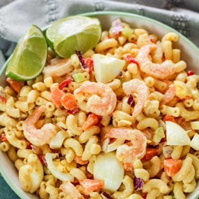 bowl with noodles and shrimp