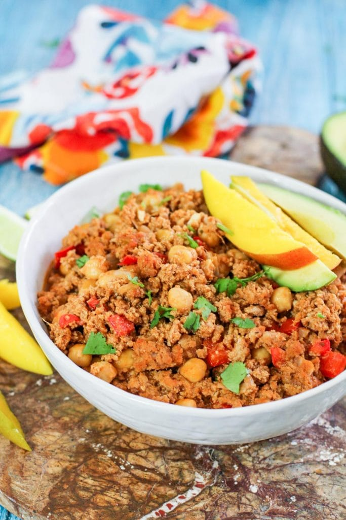 picadillo in a white bowl
