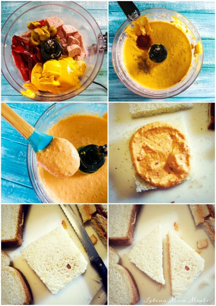 collage of the steps to make sandwich de mezcla