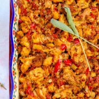 chorizo stuffing overhead shot of it in a colorful casserole pan