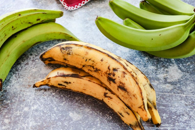 ripe plantains on a blue background