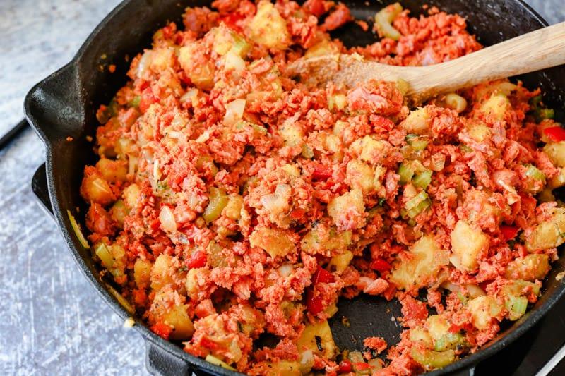 chorizo mixed with plantain mixture