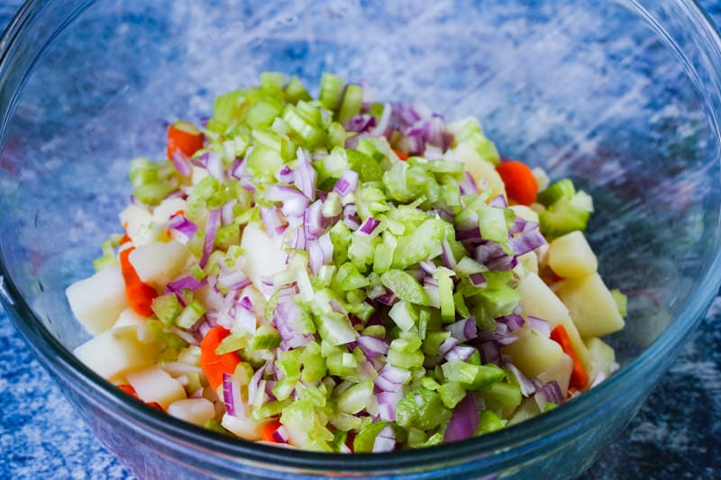 chopped vegetables in a glass bowl