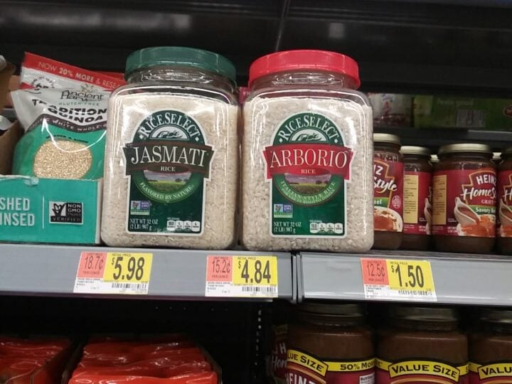 RiceSelect Arborio rice on a Walmart shelf.