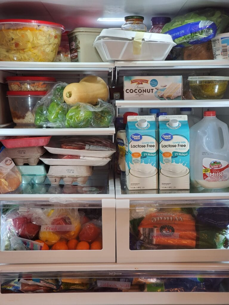 photo of fridge packed with food