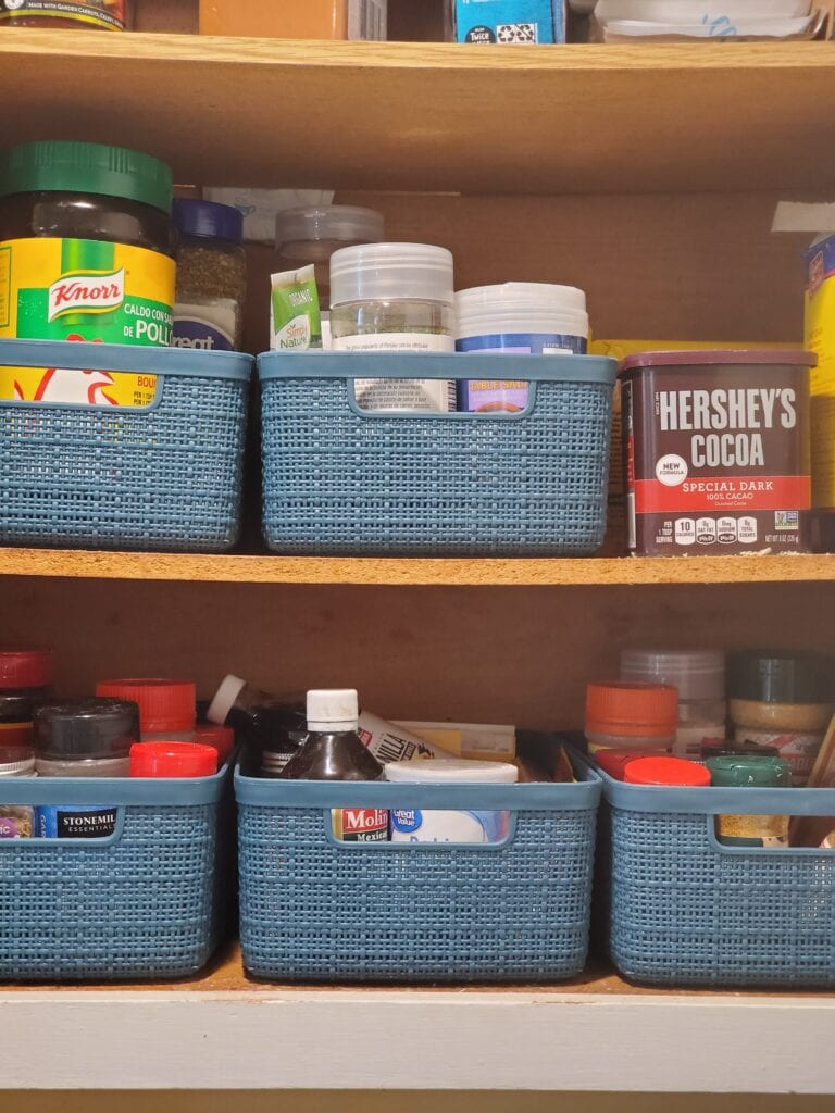 seasonings in containers on counters