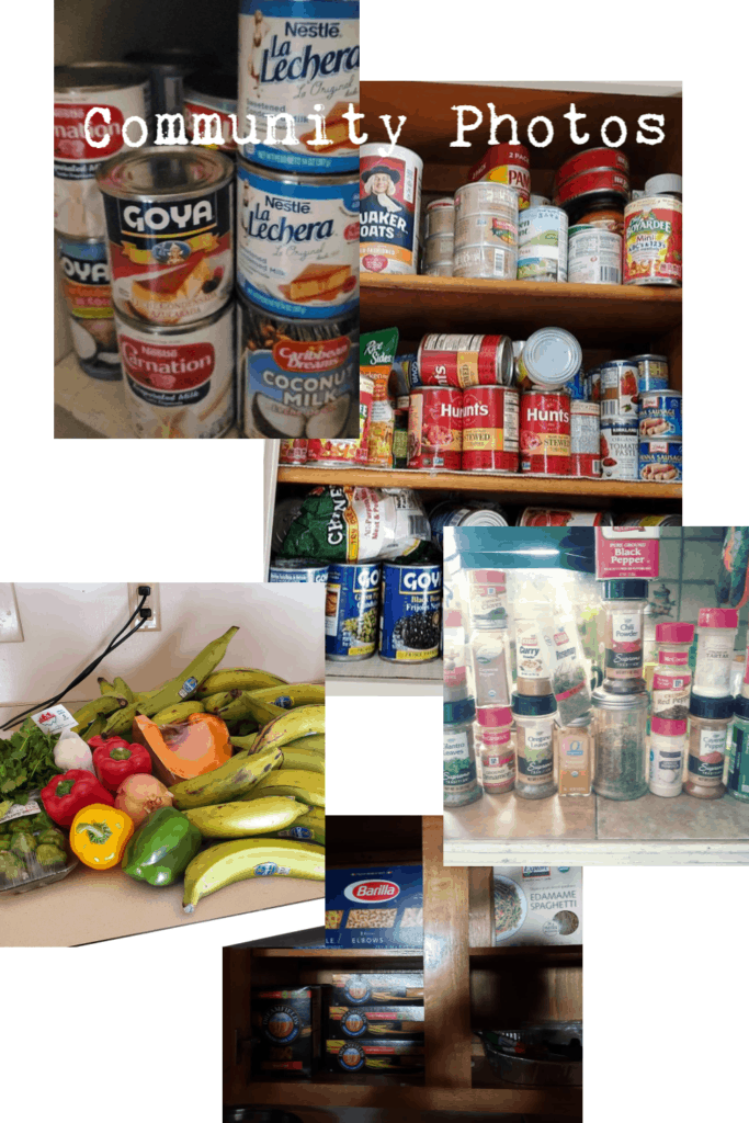 collage of various photos of pantry staples like canned goods