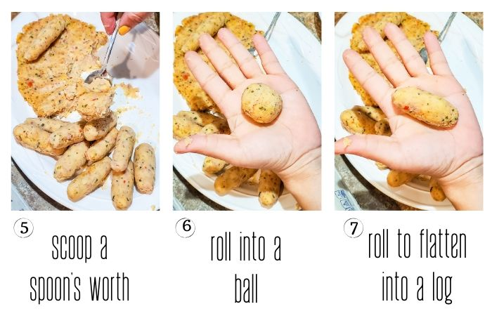 Croquette dough rolled into a ball on a hand.