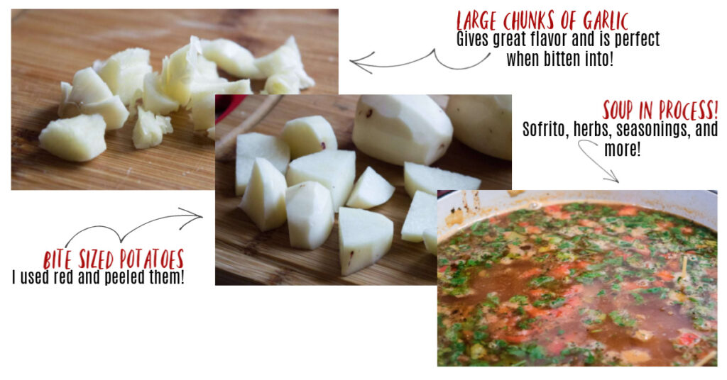 A collage of images of garlic, potatoes, and soup broth.