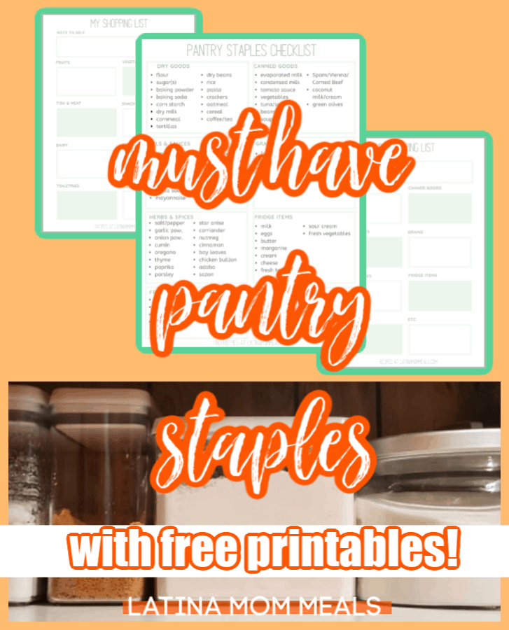 A collage with various images such as a pantry itemized list for printing!