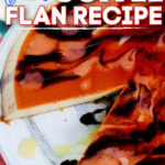 Pinterest image of flan with chocolate and vanilla sauce drizzled on top